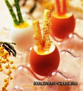 Яйца всмятку с гарниром